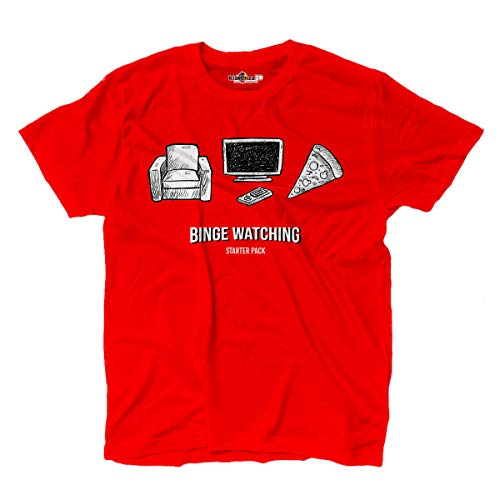 Camiseta Serie Tv T-shirt Binge Watch Maraton Series Parodia Rossa L red