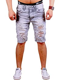 Herren Jeans Bermuda Destroyed Ripped Shorts Kurze Jeans Sommer ST-7003 9d54d00586