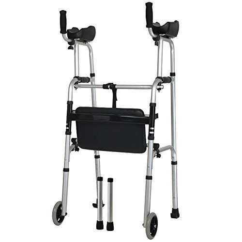 Superlight Aluminiumlegierung Gehwagen Gehhilfe Gehrahmen mit Doppelt Arm Tablett und Leder Sitz - Beruf Medizinisch Rehabilitationsgeräte Kompakt Falten Abnehmbar