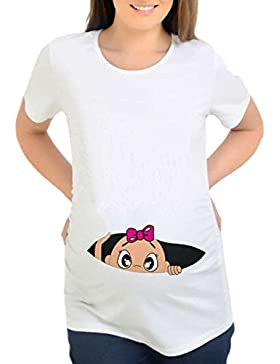 Topgrowth T Shirt Premaman Divertenti Felpe Camicetta Donna Manica Corta T-Shirt di maternità Casual Tops