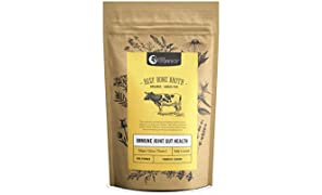 Organic Beef Bone Broth Powder  Turmeric - 48 Hour Slow Cooked For Max Nutrients & 100% Grass-Fed Beef - Helps Reduce Inflammation, Packed With Collagen, Supports Immune Health - Bone Broth