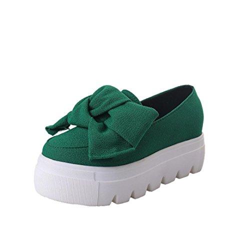 Transer® Damen Knoten Bowknot Mokassins Plattform Blockabsatz Schwarz Grün Rot Wildleder+Kunststoff Mode Schuhe Gr.35-39 Grün