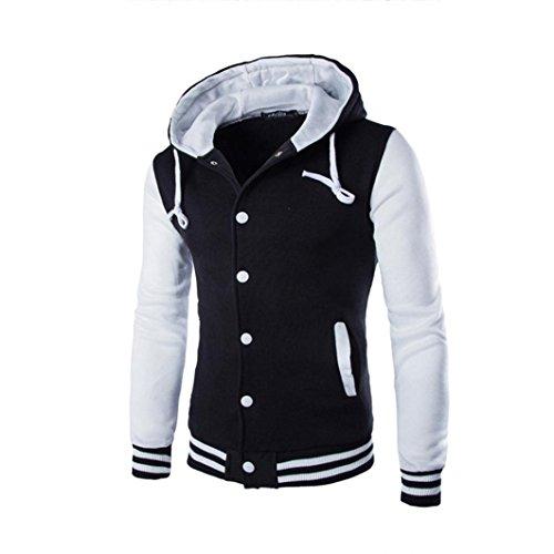 Koly_Gli uomini del rivestimento del cappotto caldo Outwear maglione invernale Slim con cappuccio (M, Bianca)