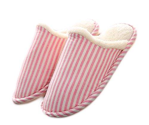 Auspicious beginning Les pantoufles d'intérieur de conception de rayure d'hiver unisexe glissent les chaussures plates molles chaudes de Chambre à coucher de dérapage Rose
