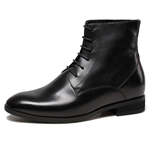 CHAMARIPA chaussures rehaussantes Bottes martin en cuir pour homme - plus Grand de 7 cm Noir