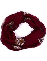 Damen Schal Loop Schlauchschal Tuch mit Print Eule Peace und Sterne - erhältlich in verschiedenen Farben