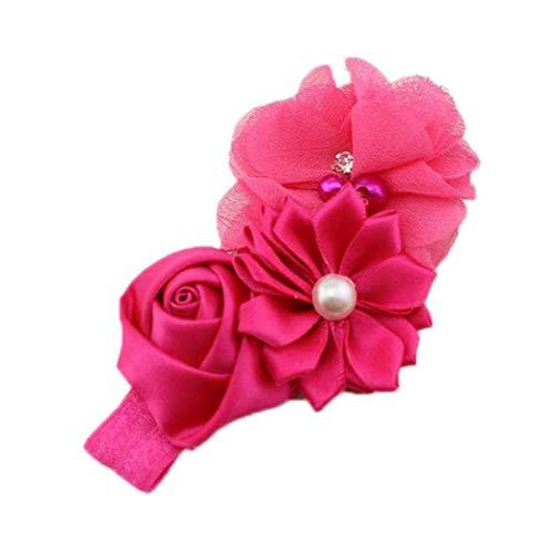 FEDSJUIHYG Babys Stirnband-Chiffon- Rosen-Blumen-Haar Für Neugeborene Kleinkind Und Kinder (Rose Red) Baby-Stirnband -