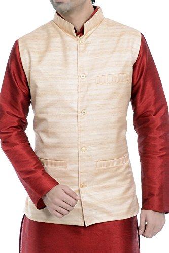 Vastramay Men Beige Cotton Blend Modi Nehru Jacket Self Design For Traditional/Festive/Wedding...