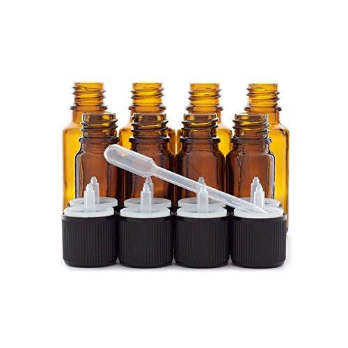 4 flacons de 20ml et 4 flacons de 10ml en verre ambré DIN 18 avec bouchons codigouttes