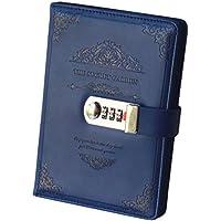 Ai-life Retro Vintage Cuaderno de Cuero PU Notebook Diario Planificado Organizador con Cerradura de Combinación, Diario Bloc de Notas Contraseña Cuaderno Con Un Bloqueo De Contraseña Coded Lock, Soporte Para Bolígrafo(200x130mm)