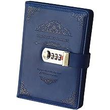Ai-life Retro Vintage Cuaderno de Cuero PU Notebook Diario Planificado Organizador con Cerradura de