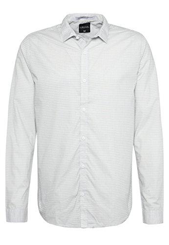Sublevel Herren Business Hemd mit Allover Muster | Regular Fit Hemd im Retro-Look Light-Grey M