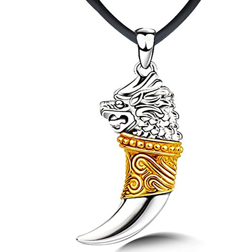 925Sterling Silber Dragon Head Anhänger Golden Wolf Zahn mit Halskette Kette