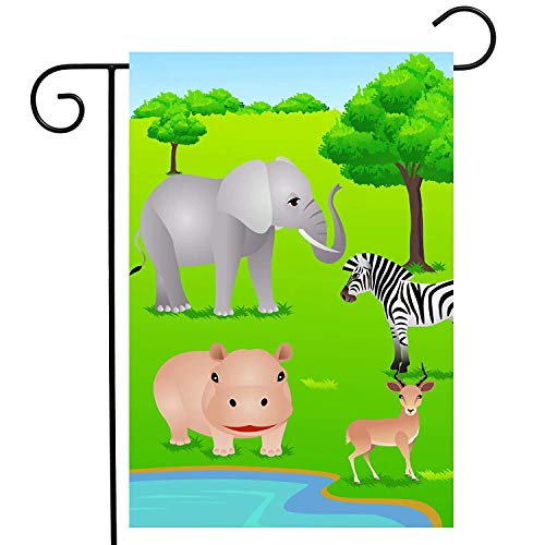 Africa Animal Tree Green Garden Yard Flag Double Sided, Polyester Wildlife Zebra Hippo Impala Welcome House Flag Banners for Patio Lawn Outdoor Home Decor(Size: 12.5inch W X 18 inch H) - American Zebra Line
