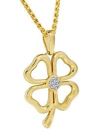 Bella Donna Damen- Halskette mit Anhänger 925 Silber vergoldet 7 Diamanten ca. 0,03 ct. getöntes Piquè