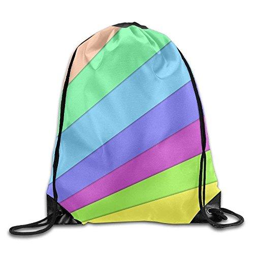 HiExotic Eco-Friendly Turnbeutel Hipster Unisex Color Stripe Pattern Print Tote Sack Bag Rucksack Drawstring Backpack Travel Bag Daypack -