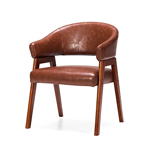 ZJM- Massivholz Esszimmer Stuhl Rückenlehne Stuhl Leder Sessel Studie Lounge Chair Einfache Stuhl (Farbe : Light Brown, Größe : Set of 2) (Leder-lounge-sessel Farbe)