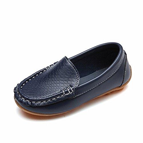 Dorical Unisex Baby Mädchen Jungen Mokassins Kunstleder rutschfest Lauflernschuhe Kinder Loafers Baby Schuhe mit Weich Sohle für Frühling Sommer(1-12 Jahre)(Dunkelblau,33 EU)