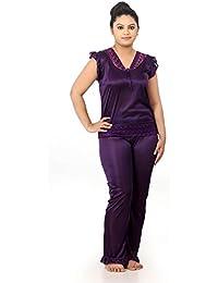 Fabme Women's Satin Night Suit Nighty (Shirt and Pyjama) - Color Option