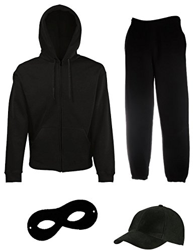 Dieb Kinder Kostüm - Coole-Fun-T-Shirts EINBRECHER Set Gangster Bande KOSTÜM - Fasching - Karneval - Sweatshirtjacke mit Kapuze, MÜTZE, Maske Gesamt 4 Teile Hose Jogginganzug - SCHWARZ Gr.XL