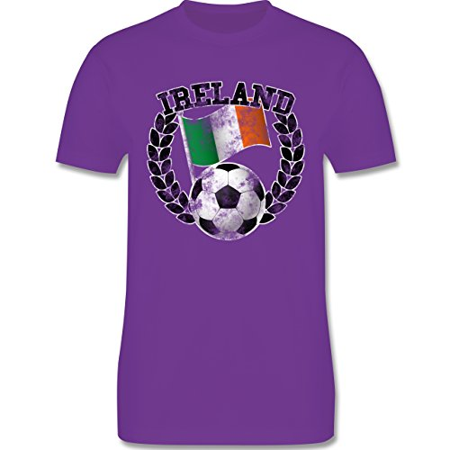 EM 2016 - Frankreich - Ireland Flagge & Fußball Vintage - Herren Premium T-Shirt Lila