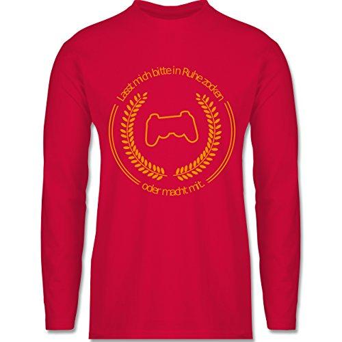 Nerds & Geeks - In Ruhe Zocken - Longsleeve / langärmeliges T-Shirt für Herren Rot