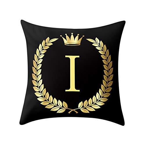 Aiserkly 45x45 cm Kissenbezug schwarz und Gold Brief Kissenbezug Sofakissenbezug Home Decor