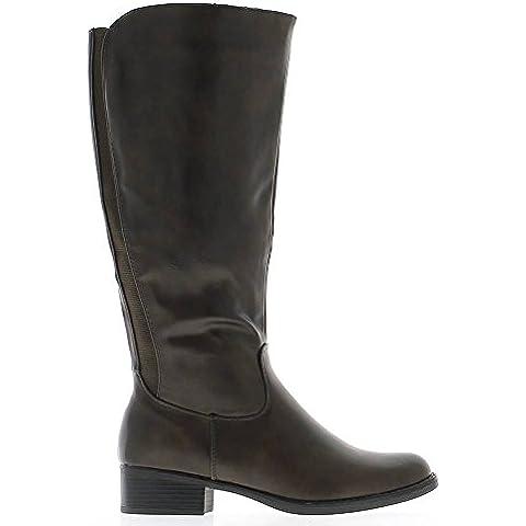 Stivali marroni con tacco 4cm pelle elasticizzati