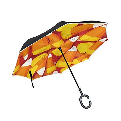 Regenschirm für Halloween-Party, doppelschichtig, niedlich, gelb, orange, Dessert, Winddicht, UV-Schutz, Nicht automatisch, groß, gerade, C-förmiger Griff für Auto Regen