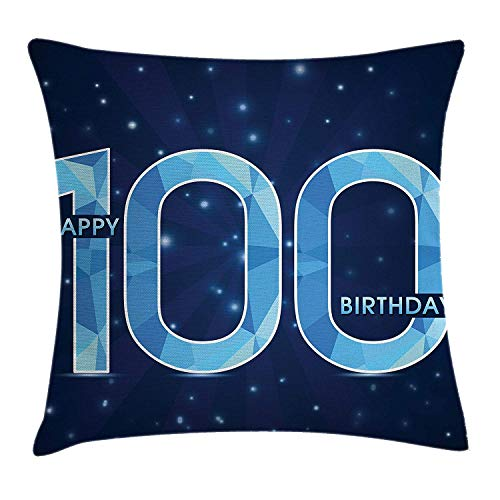MLNHY 100th Birthday Decorations Throw Pillow Cushion Cover, Happy Birthday Old Grandparents Century Party Image, Decorative Square Accent Pillow Case, 18 X 18 Inches, Sky Blue and Navy Blue Old Navy Bow Tie