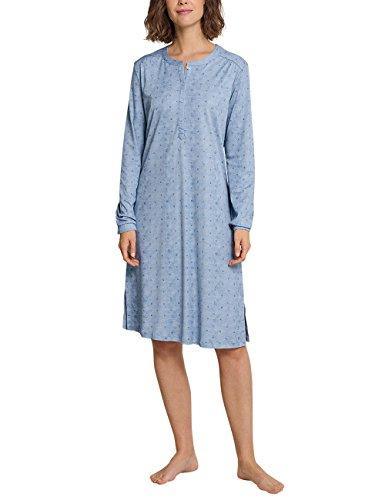 Schiesser Damen Nachthemd Sleepshirt 1/1 Arm, 100cm, Blau (Hellblau 805), 46