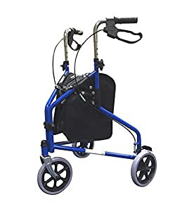 SimpleLife Mobility Tri-Walker Lightweight Folding Steel Walker with Bag - Blue