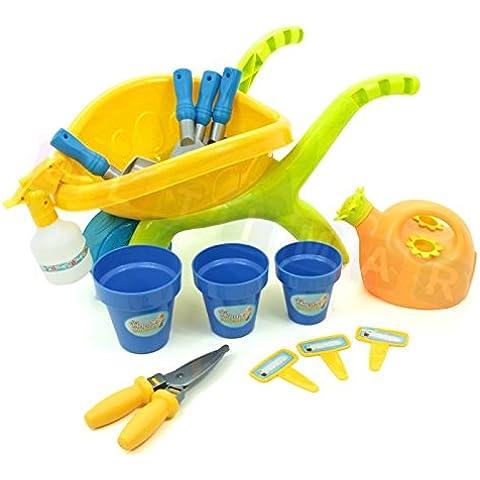 Set de jardinería con carrito de jardinero - Carretilla para ni?os - Carretilla infantil y juguetes de playa - Herramienta para el