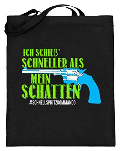 Hochwertiger Jutebeutel (mit langen Henkeln) - Ich Schieße Schneller Als Mein Schatten - Das Schnellspritzkommando!