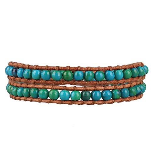 KELITCH Leder Armband Blau Grün Türkis Perlen Legierung Gravur Wrap Armbänder - Braun Leder - Perlen-wrap Und Leder Armband