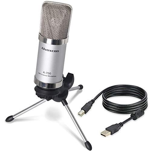 Alvoxcon microfono a condensatore USB plug & play Home studio USB microfono  per Skype YouTube Google Voice Search Podcasting, PC, Silver