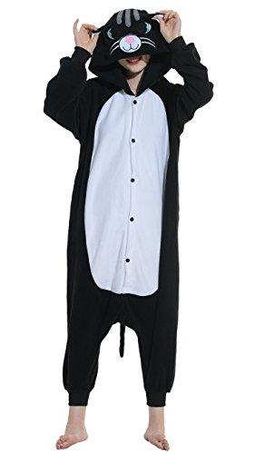 Onesies mit Kapuze Erwachsene Unisex Cospaly Schlafanzug Halloween Kostüm Schwarze Katze Geeignet für Hohe 160-175CM (Halloween Schwarze Katze Kigurumi)