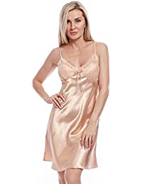 40a2165469 BellisMira Sexy Lace Satin Chemise Nightwear Full Slip Silk Sleepwear  Padded/Unpadded Sleep Dress Silky