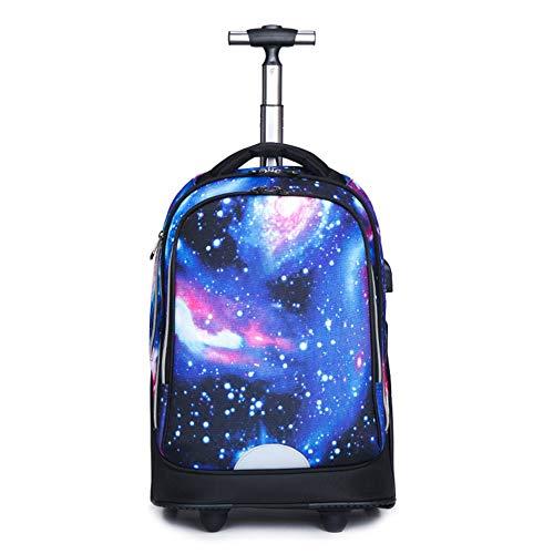 QIUDAN Student Trolley Rucksack, Nylon wasserdichte Laptop Gepäck Tasche, USB Roll Trolley Rucksack, für 15,6 Zoll Laptop Travel College Trolley Rucksack Daypack-8 -