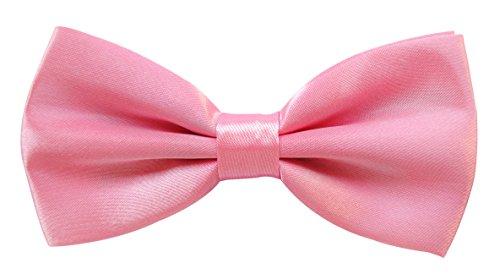 axy axy Hochwertige Herren Fliege Schleife Konfirmation verstellbar in verschiedenen Farben FLI1 (Pink)