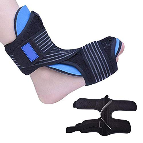Volwco Drop Foot and Heel Pain Relief Ankle Brace and Stretcher Supports Arch Achilles Tendon Plantar Fasciitis Night Adjustable Splints for Men and Women (Fits Both Left and Right Foot) -Black