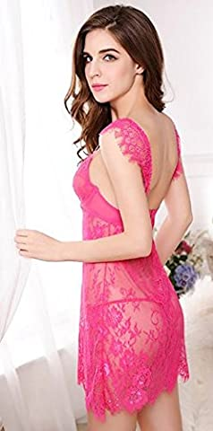 CU@EY Women's Lingerie Nightwear Deep v strap Lace Transparent,rose Red,One size