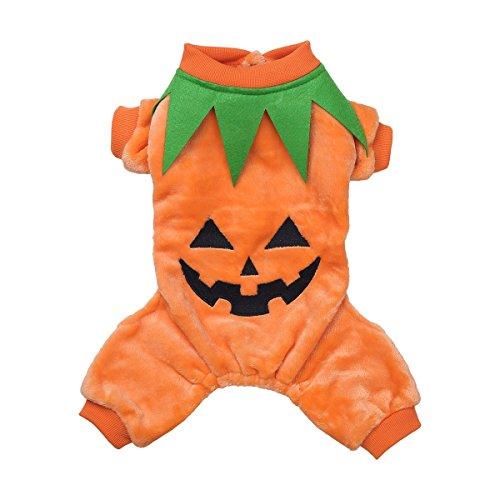 YiZYiF Hunde Hoodie Hürbis komische Hundewelpen Katzen Halloween Kostüm Kleidung Warme Fleece Shirt Haustier Kleid Dress Up S-XXL orange M
