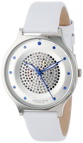 Johan Eric JE1600–04–001de la mujer orstead redondo acero inoxidable plata Sunray Dial Swarovski Cristal reloj