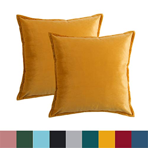 Bedsure Velvet Cushion Cover Christmas 40cm x 40cm (16in x 16in) Yellow 2 PCS Decorative Pillowcases Vintage Throw Cushion Covers for Sofa and Couch