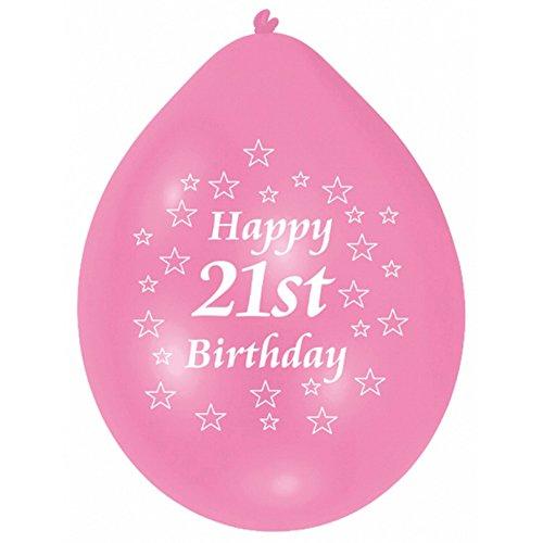 Amscan 22.8 cm  21. Geburtstag 10 Luftballons, Pink/Weiß