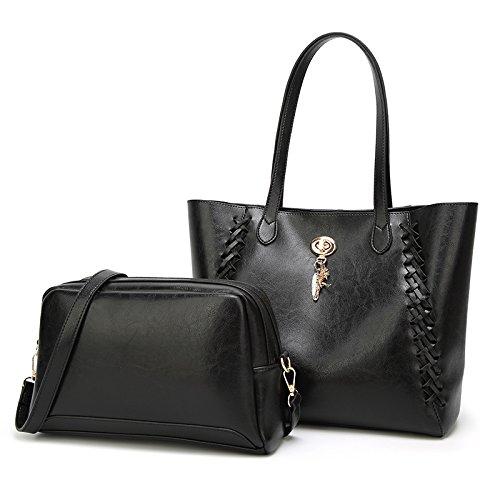 CX TECH Handtaschen-Lady, Leder, Geldbörse, einfach, Top-Synthetische Handtasche, klassisch, großvolumige Travel Bag, Münze Purser, Herbst Und Winter, Mode, großes Shoulder,2-Stück-Set,Black