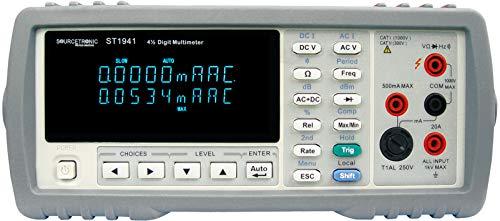 Sourcetronic 4 1/2 stelliges Digital-Tischmultimeter ST1941 (Zweizeiliges Display) mit DC/AC Spannungs-, DC/AC Strom-, Widerstand-, Frequenz-, Durchgangs-, und Diodentest und USB Schnittstelle Bench Digital Multimeter