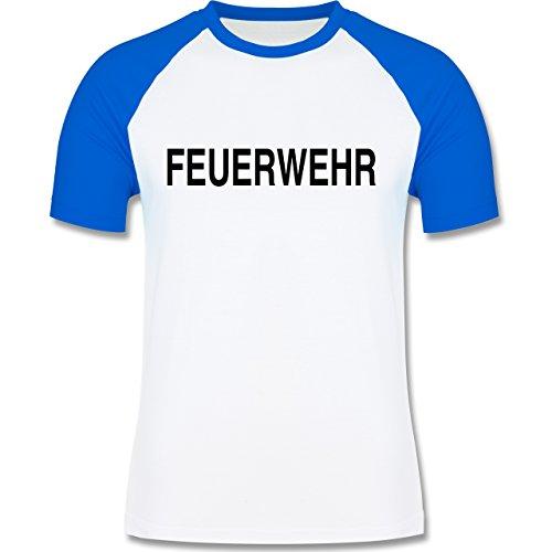 Feuerwehr - Feuerwehr Schriftzug - zweifarbiges Baseballshirt für Männer Weiß/Royalblau