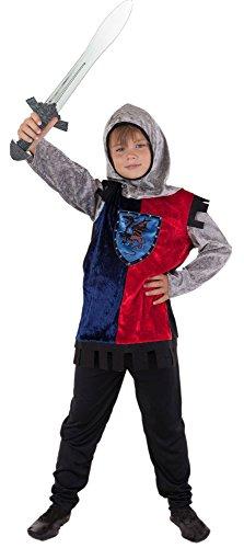 tter Kostüm Kinder für blau-schwarz-rot - Ritter Kostüm für Kinder Jungen Mittelalter (134/140) (Mittelalterliche Ritter Für Kinder)